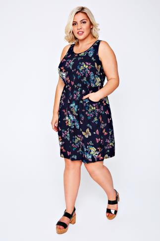 Navy Butterfly Print Sleeveless Dress With Pockets