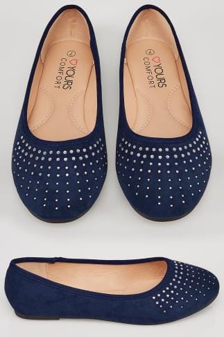 Wide Fit Flat Shoes Navy COMFORT INSOLE Ballerina Pumps With Diamante Detail In TRUE EEE Fit 154109