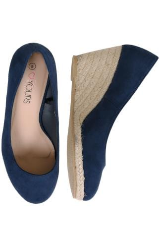 Wide Fit Wedges Navy COMFORT INSOLE Closed Toe Espadrille Wedges In TRUE EEE Fit 154019