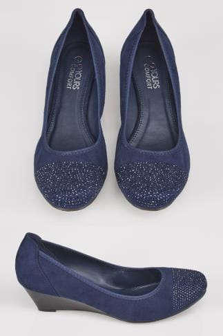 Wide Fit Wedges Navy Closed Toe Wedges With Diamante Embellishment In TRUE EEE Fit 154048
