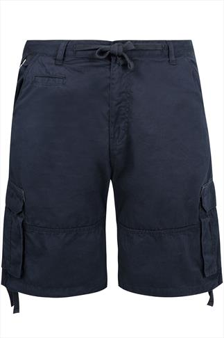 Loyalty & Faith Navy Cargo Shorts With Draw-Ties And Pockets