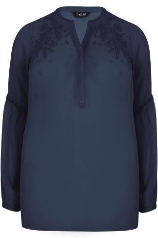 Navy Chiffon Embroidered Blouse With Crochet Detail Bell Sleeves