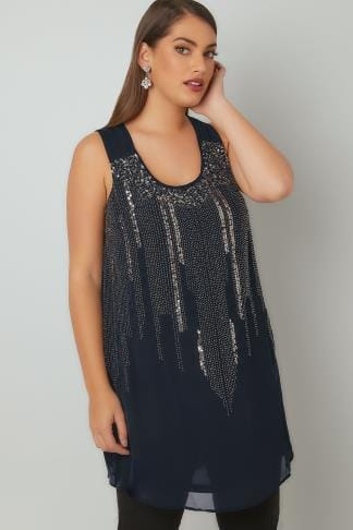 Party Tops YOURS LONDON Navy Chiffon Sleeveless Top With Sequin & Bead Embellishment 156253