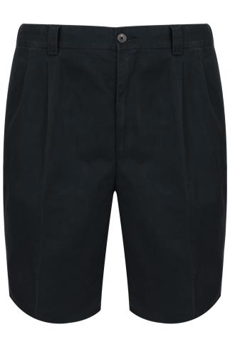 Navy Chino Shorts With Elasticated Waist Insert