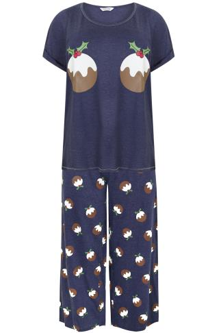 Navy Christmas Pudding Printed Pyjama Set