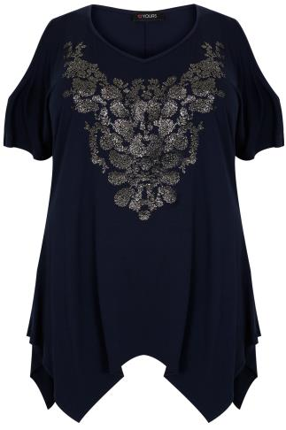 Navy Cold Shoulder Top With Hanky Hem & Caviar Beading
