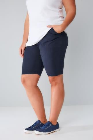 Navy Cool Cotton Pull On Shorts With Pockets 144025