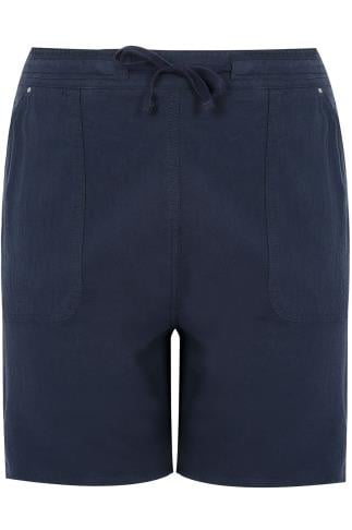 Navy Cool Cotton Pull On Shorts With Pockets
