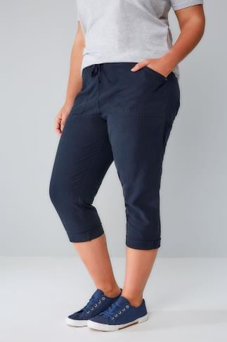 Navy Cool Cotton Pull On Tapered Trousers 144005