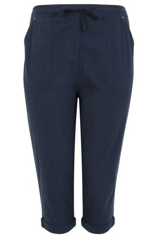Navy Cool Cotton Pull On Tapered Cropped Trousers