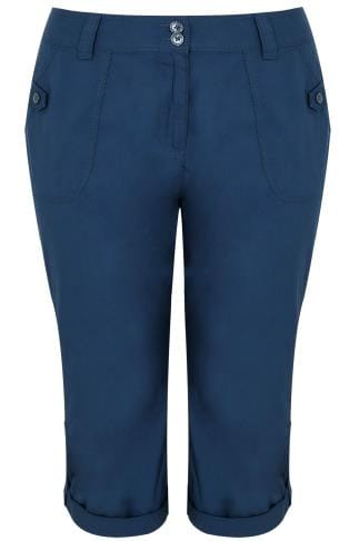 Capri Hosen Navy Cotton Cargo Cropped Trousers 170207
