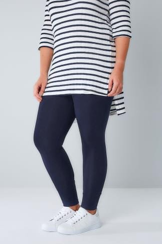 Basic Leggings Navy Cotton Elastane Full Length Leggings 101958