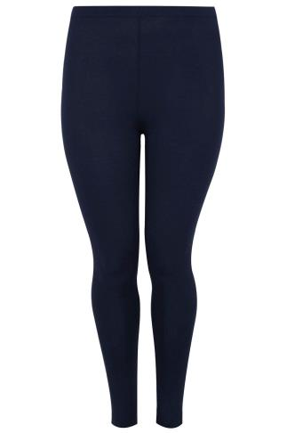 Navy Cotton Elastane Full Length Leggings