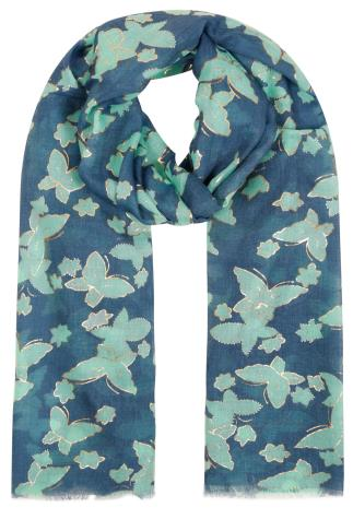 Navy & Green Butterfly Print Scarf With Gold Foil Detail 152054