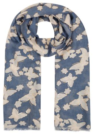 Scarves Navy & Cream Butterfly Print Scarf With Gold Foil Detail 152055