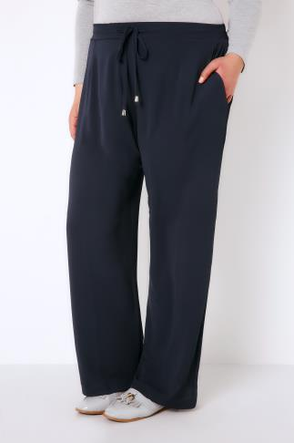 Navy Crepe Drawstring Trousers