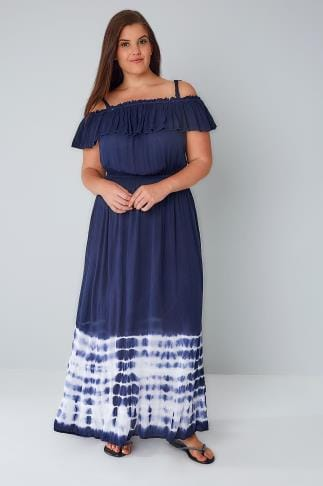 Maxi Dresses Navy Crinkle Fabric Frill Maxi Dress With Tie Dye Hem 136096