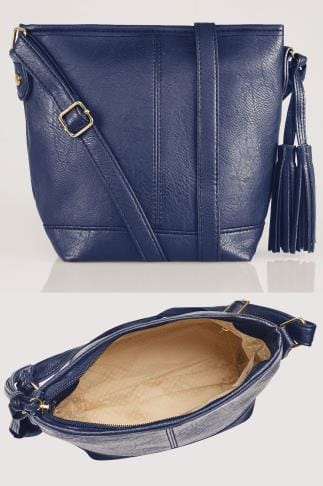 Navy Cross Body Bag With Tassel Detail