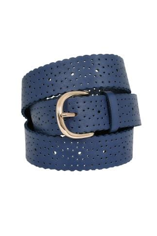 Belts Navy Cut Out Spot Detail Belt With Scalloped Edge 152217