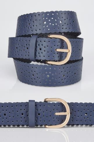 Navy Cut Out Spot Detail Belt With Scalloped Edge