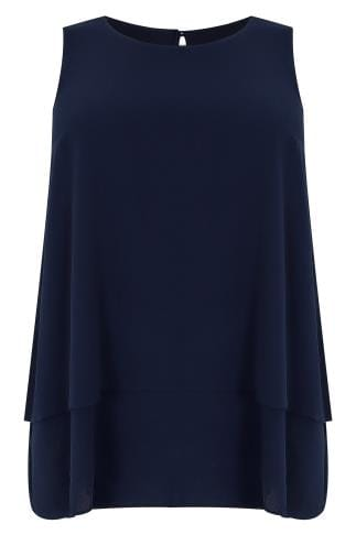 Navy Double Layer Longline Top With Dip Hem