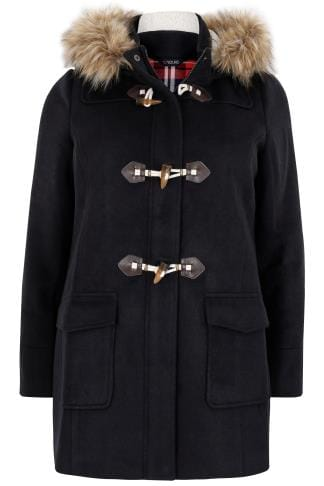Navy Duffle Coat With Hood Amp Faux Fur Trim Plus Size 16 To 36