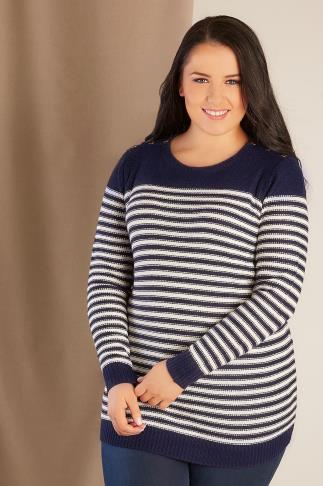 Navy & Ecru Stripe Knitted Jumper