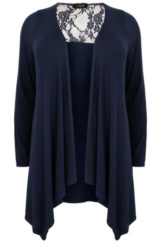Navy Edge To Edge Waterfall Jersey Cardigan With Lace Panel
