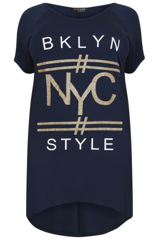 "Navy Extreme Dip Back Top With ""NYC"" Graphic Print"
