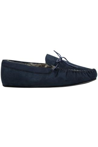 Slippers Navy Faux Suede Moccasin Slipper With Fur Lining 101785