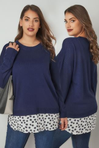 Jumpers Navy Fine Knitted Jumper With Mock Floral Print Shirt Hem 124185