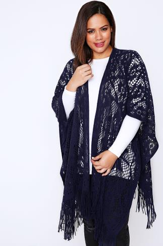Navy Floral Knitted Wrap