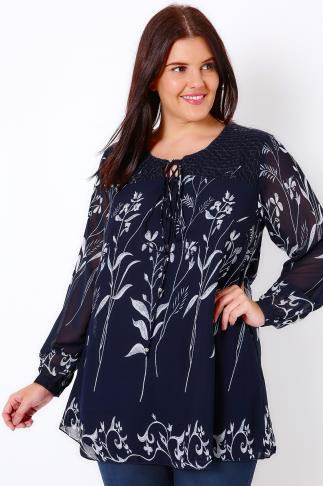 Navy Floral Lace Up Smock Blouse