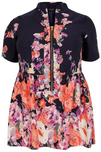 Navy Floral Print Longline Top With Ruched Waist & Zip Front