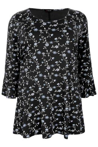 Navy Floral Print Peplum Top With Frill Sleeves