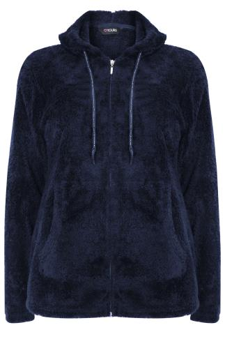 Navy Fluffy Hooded Zip Up Fleece