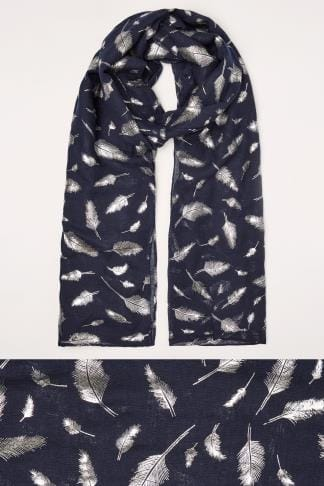 Navy Foil Feather Print Scarf