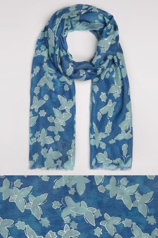 Scarves Navy & Green Butterfly Print Scarf With Gold Foil Detail 152054