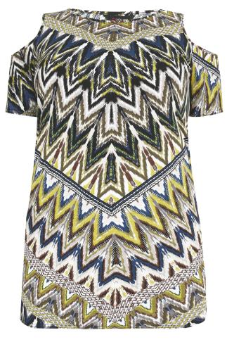 Navy, Grey And Citrus Zig Zag Print Cold Shoulder Longline Top