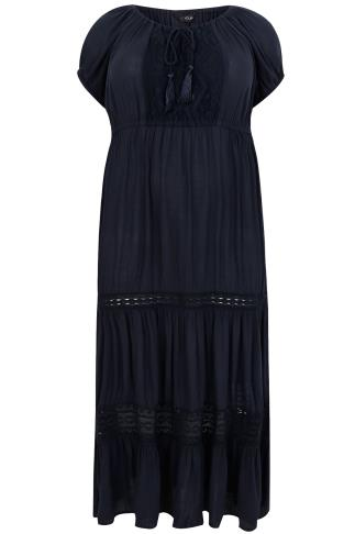 Navy Gypsy Maxi Dress With Tassel Neck Tie