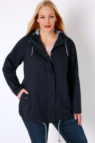 Navy Hooded Twill Parka With Stripe Lining 102745