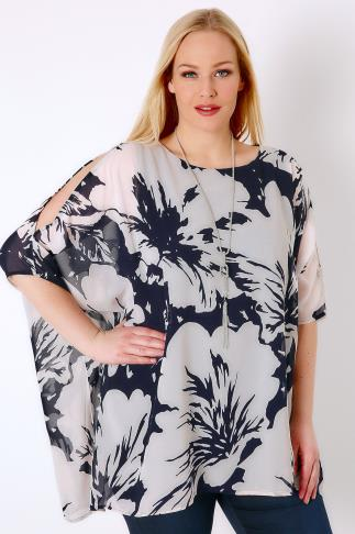 Navy & Ivory Floral Print Chiffon Cold Shoulder Top With Free Necklace 130053