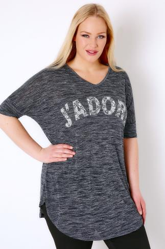 "Jersey Tops Navy ""J'adore"" Paisley Print Top With V-Neck 132149"