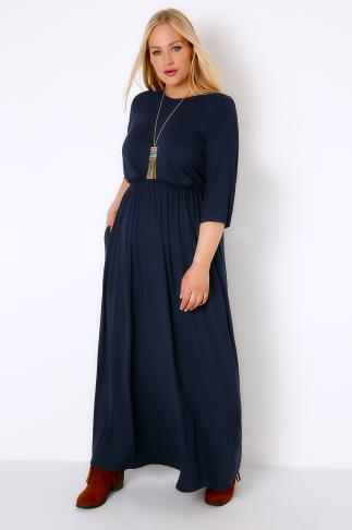 Navy Jersey Maxi Dress With Ruched Waist and Pockets