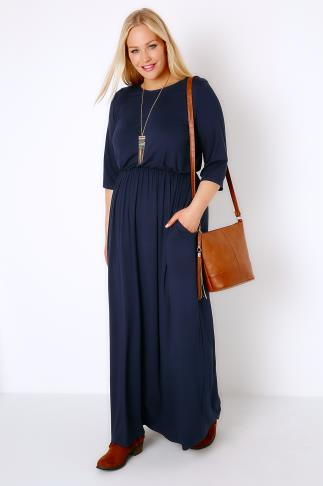 Navy Jersey Maxi Dress With Ruched Waist and Pockets 156053