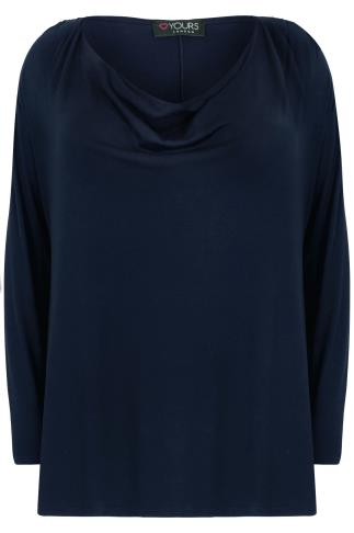 Navy Jersey Top With Cowl Neck