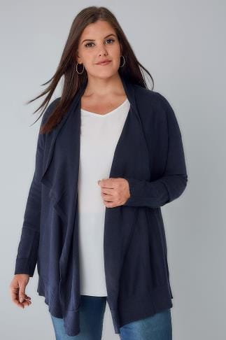 Cardigans Navy Knitted Waterfall Cardigan 103101