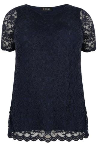 Navy Lace Front Stretch Jersey Top With Scalloped Hem