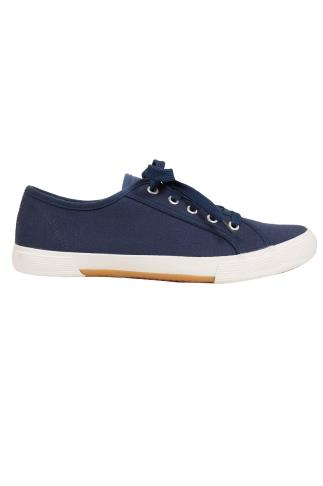 Navy Lace Up Gumsole Canvas Trainers In EEE Fit