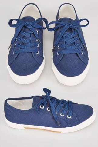 Navy Lace Up Gumsole Canvas Trainers In TRUE EEE Fit